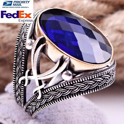 Double Sword Turkish Handmade 925 Sterling Silver Sapphire Men Ring US all size