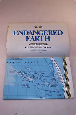 Vintage National Geographic Map - Endangered Earth (1988)