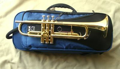 Complete trumpet with case, Benge 7C mouthpiece, valve oil and marching lyre
