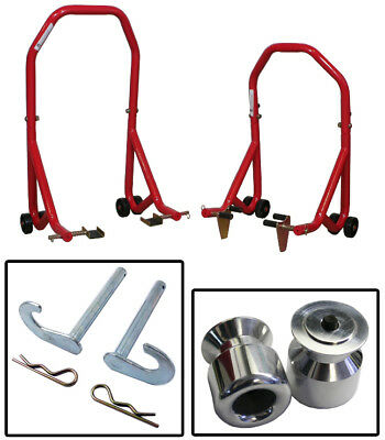 Series 3 Red Front and Rear Stands Aluminum Slider Spools Ducati 999/s 05 & Up