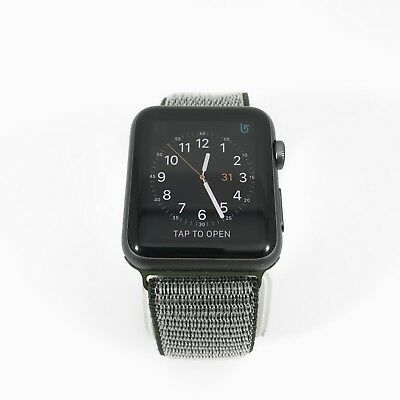 Apple Watch Gen 1 42mm Space Gray Aluminium Series 7000 Olive Nylon Loop