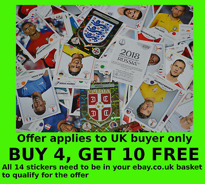 Panini 2018 World Cup stickers -{select your}- shiny Logo/Trophy/Badge/Legends