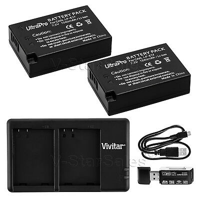 2x LP-E17 Replacement Battery + Dual Charger for Canon EOS 77D T7i T6s T6i