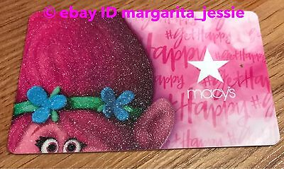 """Macy's Collectible Gift Card Dreamworks Trolls """"princess Poppy"""" No Value New"""
