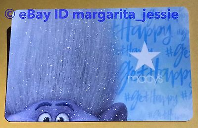 """Macy's Collectible Gift Card Dreamworks Trolls """"branch"""" Blue Troll No Value New"""