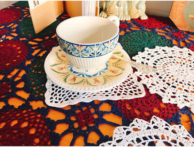 Cotton Yarn Hand Floral Crocheted Doily cup placemat 16x16cm White CR10