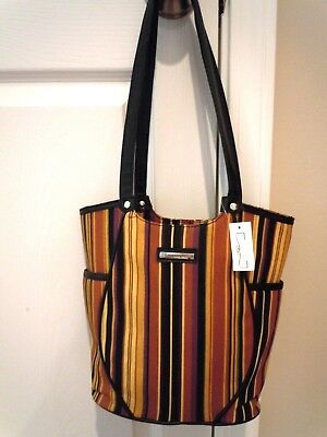 ~ Longaberger Autumn Strip Fabric ~ Side Pockets Purse ~ BRAND NEW ~
