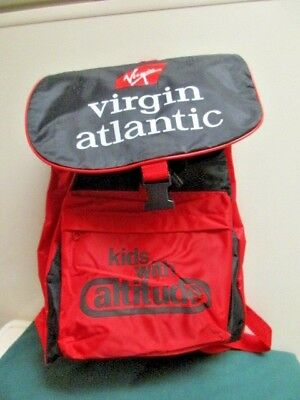 Virgin Atlantic Airline Kids With Attitude Red & Black Flight Backpack Rare
