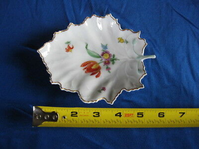 Hochst Hand-Painted Porcelain Floral Leaf Dish  Made in Germany New