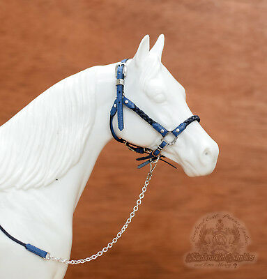 Custom Traditional 1:9 Scale BLUE Leather Braided Halter fits Breyer Peter Stone