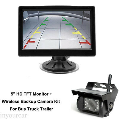 """5"""" TFT Rearview Monitor+Wireless HD Back up Camera System For Bus Truck Trailer"""