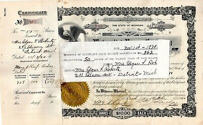 Watervliet Paper Company of Michigan 1919-20 Stock Certificate- attached receipt