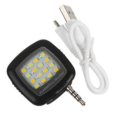 Portable Rechargeable Mini LED- Flash Light - Black - for Phone Camera