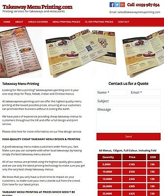 Menu/Leaflet Printing Business For Sale, Profitable Business, £700+ Profit Week