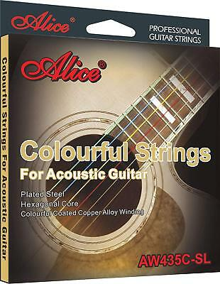 Colourful Copper Alloy Strings Acoustic Guitar Alice AW435C-SL Plated Steel