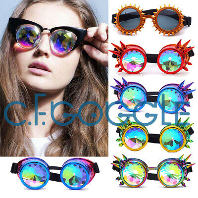 C.f.goggle Rainbow Cyber Goggles/kaleidoscope/steampunk/cosplay/antique/spikes