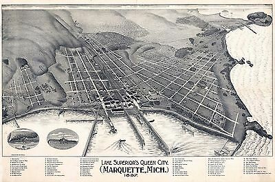 1897 MARQUETTE old MICHIGAN QUEEN CITY county map GENEALOGY atlas poster MI 19