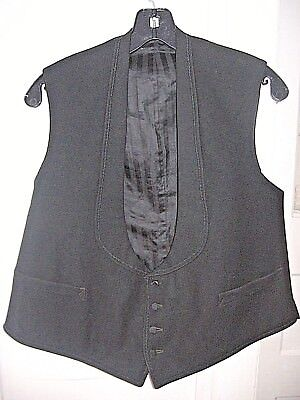VINTAGE EARLY 1900s EDWARDIAN BLACK WOOL DOWNTOWN ABBEY WAISTCOAT VEST