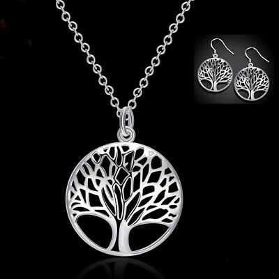 925 Sterling Silver Tree of Life Necklace Pendant Earrings Charm Set Jewellery