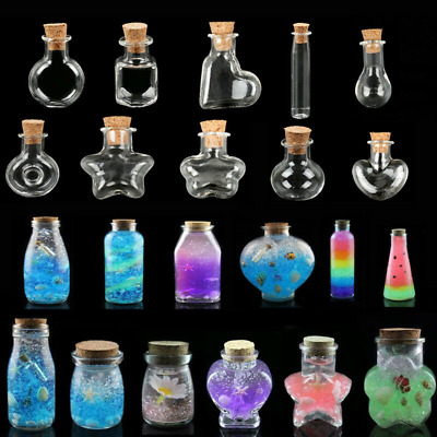10pcs Empty Mini Transparent Wishing Bottles Clear Cork Message Glass Vials