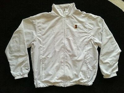 Nike Court Tennis Tracksuit Top White Size L Sampras Federer Agassi Jacket