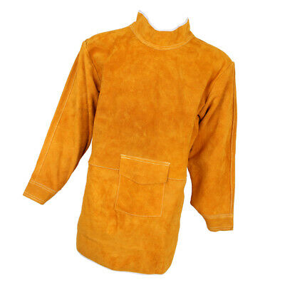 85cm Welding Coat Apron Protective Leather Safety Heat Insulation -Yellow
