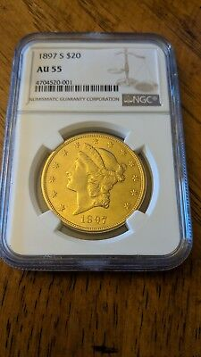 1897-S U.S. $20 Double Eagle Gold Coin NGC AU 55