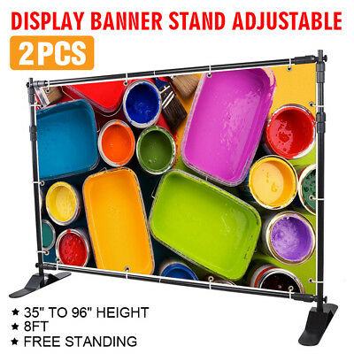 """2Pcs 8'x8' Banner Stand Advertising Printed 54"""" To 96"""" Backdrop Display GOOD"""