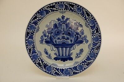 Antique Dutch Delft Plate, Flowerbasket, marked and 1932, 25cm