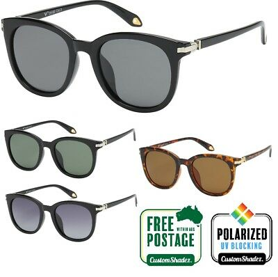 VG Womens Polarised Sunglasses - Black Retro / Round Frame - Polarized Lens