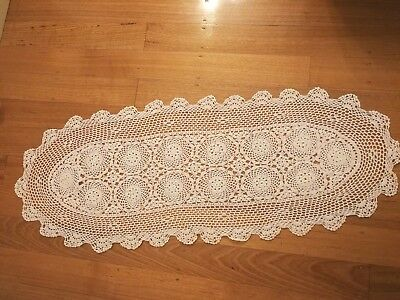 Cotton Yarn Hand Crocheted Oval Table Runner White 42cm W x 105cm L CR16