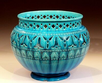 Antique English Burmantofts Pottery Pierced Incised Turquoise Jardiniere Signed