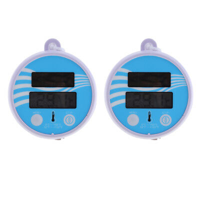 2x Solar Powered Digital Thermometer Wireless Pond Pool Floating LCD Display
