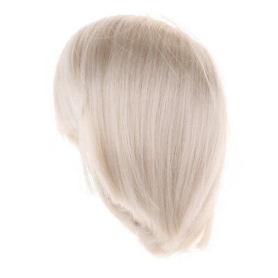 Doll DIY Short Straight Hair Hairpiece for 1/6 Dolls Doll Making Accs White
