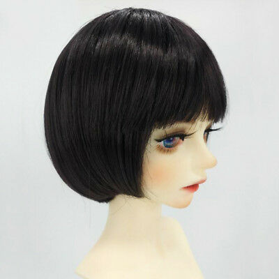 Doll DIY Short Straight Hair for 1/4 Dolls Doll Making Accessory Black Brown