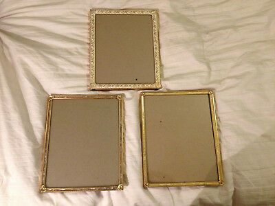 3 Vintage Ornate Metal Picture Frames for 8x10 Photo w/ Glass Velvet Easel Back