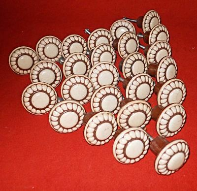 Vintage Lot 25 Round Porcelain Brown Beige Drawer Pull Cabinet Door Flower