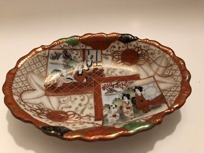 CHINESE HAND PAINTED Bowl  DISH VINTAGE ORIENTAL PORCELAIN SIGNED