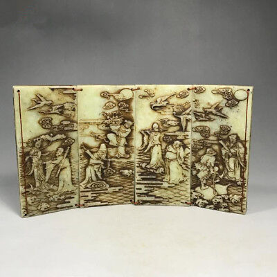 Collection Ancient Old Xiu jade handmade carving 八仙过海 screen statue antique