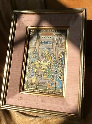 Antique Indian Persian Large Miniature, 19th C, Gouache Painting, Mughal Emperor