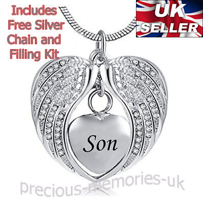 Son Cremation Urn Necklace - Funeral Memorial Jewellery - Keepsake Ashes Pendant