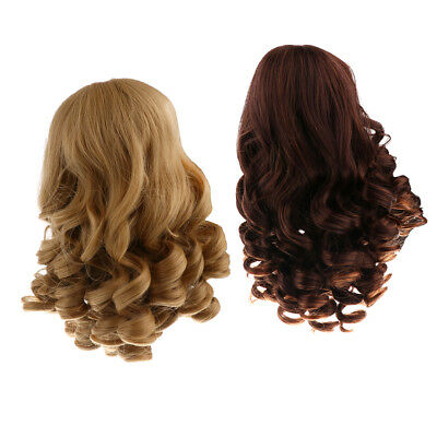 40cm Curly Hair Wig Hairpiece for 18 inch American Girl Dolls Khaki & Brown