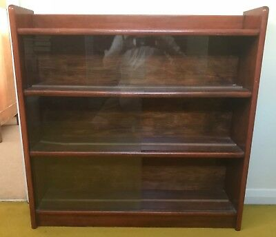 Vintage Solid Wood Glass Fronted Bookcase Circa 1950s