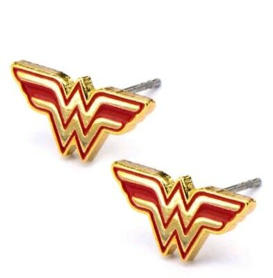 Wonder Woman Comics Earrings Stainless Steel Post with Logo Stud Earrings 575