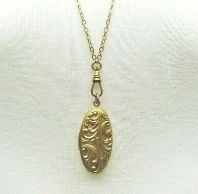 Chatelaine Necklace w fancy oval Locket gold aesthetic Victorian Vtg repro
