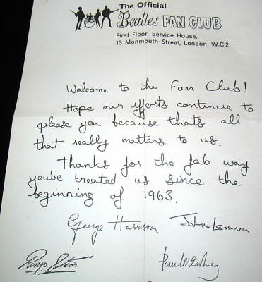 The Beatles - Signed (By All 4) Fan Club Letter - Stunning Museum Grade Quality