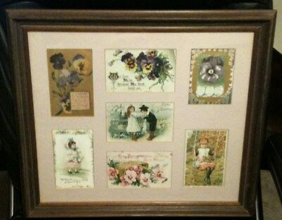 """Vintage Framed Antique Postcards Collection Very Cute 19.5"""" X16.5"""""""