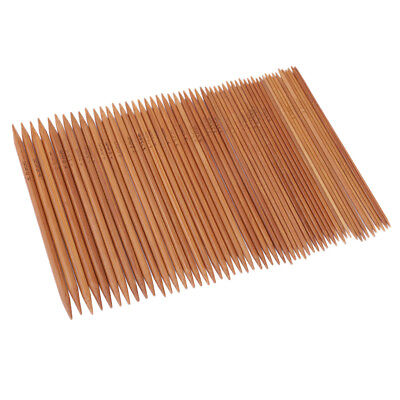 55pcs Carbonized Bamboo Double Pointed Knitting Needles Smooth Crochet Set