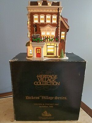 Dept 56 CROWN AND CRICKET INN 1st Edition 1992 Dickens Village 5750-9