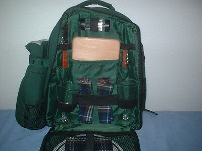 Green Picnic Backpack by Picnic Time Inc., Setting For Two With Wine Duffel Bag